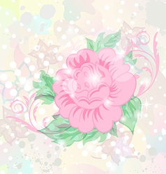 Abstract romantic grunge background with flower vector