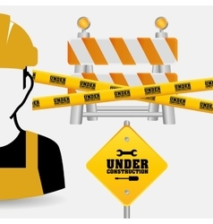 Worker tape under construction sing vector