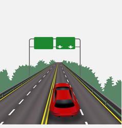 High-speed highway in perspective red car vector
