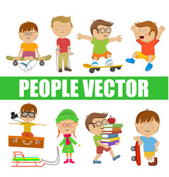Children people with various characters vector