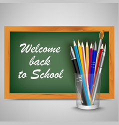Back to school with green board and supplies vector