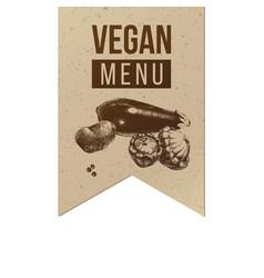 Vegan menu craft label vector