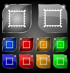 Photo frame template icon sign set of ten colorful vector