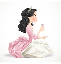 Beautiful brunette princess with tea vector