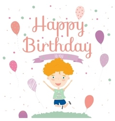 Birthday party invitation card with cute jumping vector