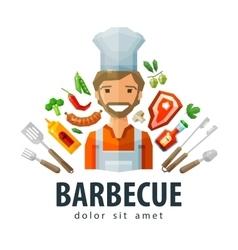 barbecue grill logo design template fresh vector image