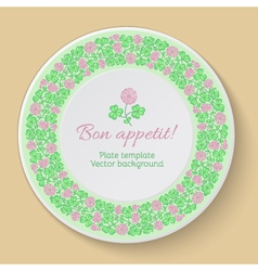 Plate template with circular clover ornament vector