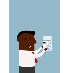 Black businessman choosing a pills vector
