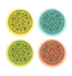 Set of 4 doodle isolated pizzas with different vector
