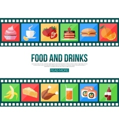 Film strips and set of flat food and drinks icons vector