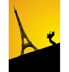 jazz trumpeter in paris vector image