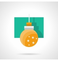 Yellow xmas bauble flat icon vector