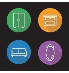 Room interior flat linear icons set vector