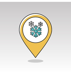 Snowflake snow pin map icon meteorology weather vector