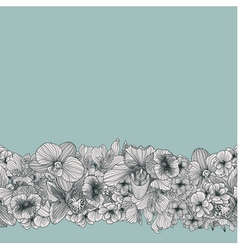 Seamless vintage flower border vector