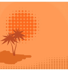 Background with palm trees and sun vector