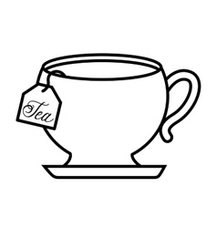 Tea cup with bag isolated icon design vector