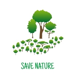 Hand made of green trees save nature concept vector