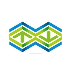 arrow letter line hexagon design sym vector image vector image