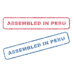 Assembled in peru textile stamps vector