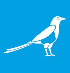 Bird magpie icon white vector