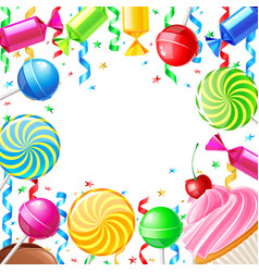 Birthday background with sweets vector