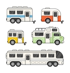 Caravan camping trailer set on white background vector