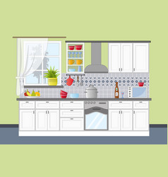 classic kitchen interior in flat style vector image vector image