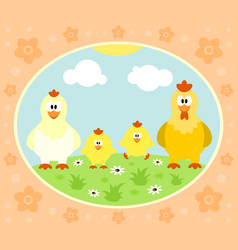 Farm background with chicken vector