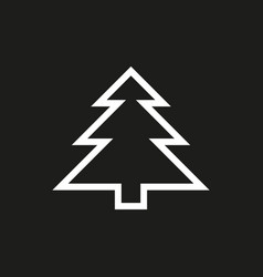 fir-tree icon on black background vector image vector image