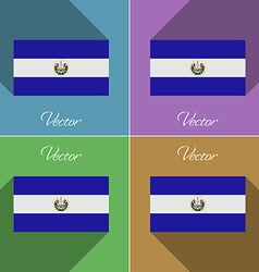 Flags El Salvador Set of colors flat design and vector image