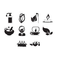 Flat black spa icon set vector