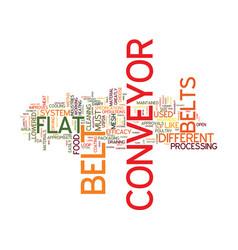 Flat conveyor belts text background word cloud vector