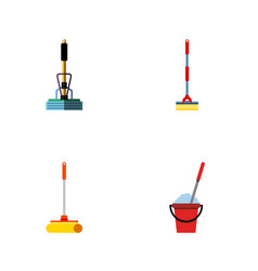 flat icon broomstick set of sweep broom cleaner vector image vector image