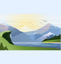 Flat of nature background with vector