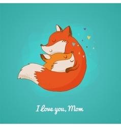 Fox greetin card mothers day vector