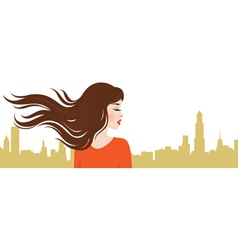 Girl on the background of the city vector image vector image