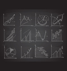 Hand drawing business statistics data graphs vector