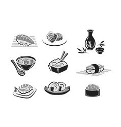 icons set of sushi or seafood rolls vector image vector image