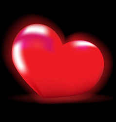 luminous red heart on a black background vector image vector image