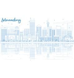 Outline johannesburg skyline vector