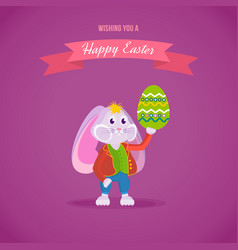 Rabbit in clothes holding an easter egg in hand vector