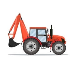 red Tractor excavator icon vector image