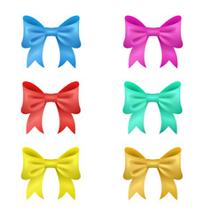 set of 6 colored bows vector image