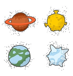 Set of planets on a white background the Moon and vector image