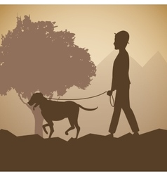 silhouette man and dog walk forest background vector image