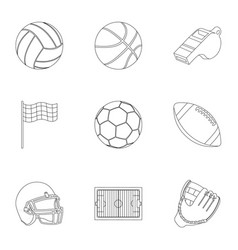 Sport and fitness set icons in outline style big vector