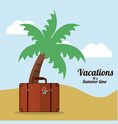 vacations summer time beach suitcase palm vector image vector image