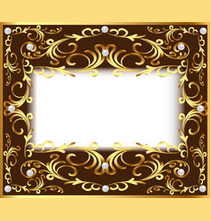 vintage background frame with vegetable golden vector image vector image