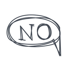Word no hand drawn comic speech bubble template vector
